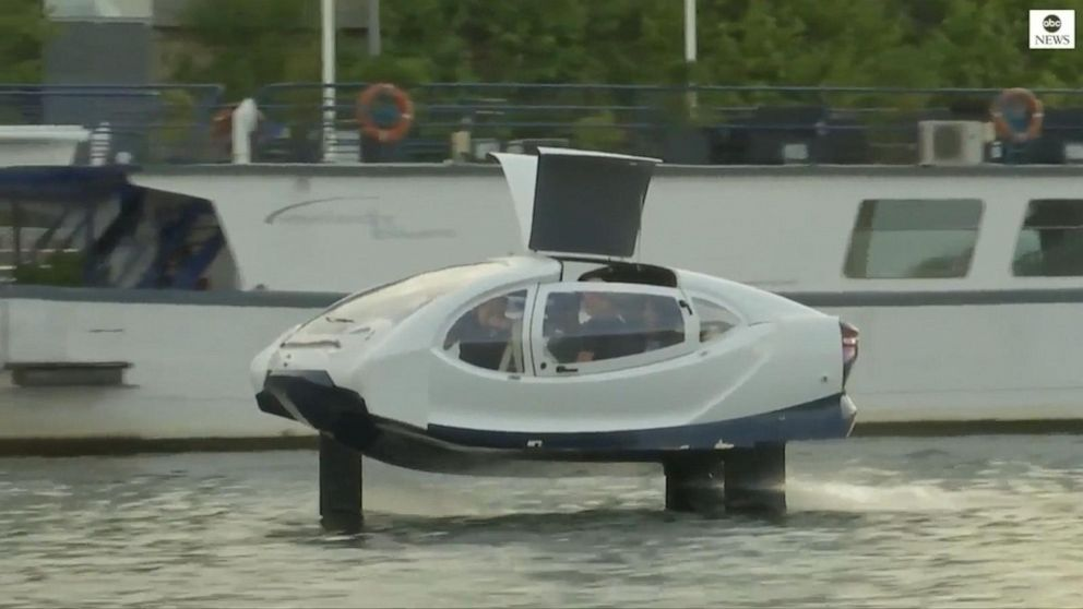 Futuristic water taxi takes to the River Seine