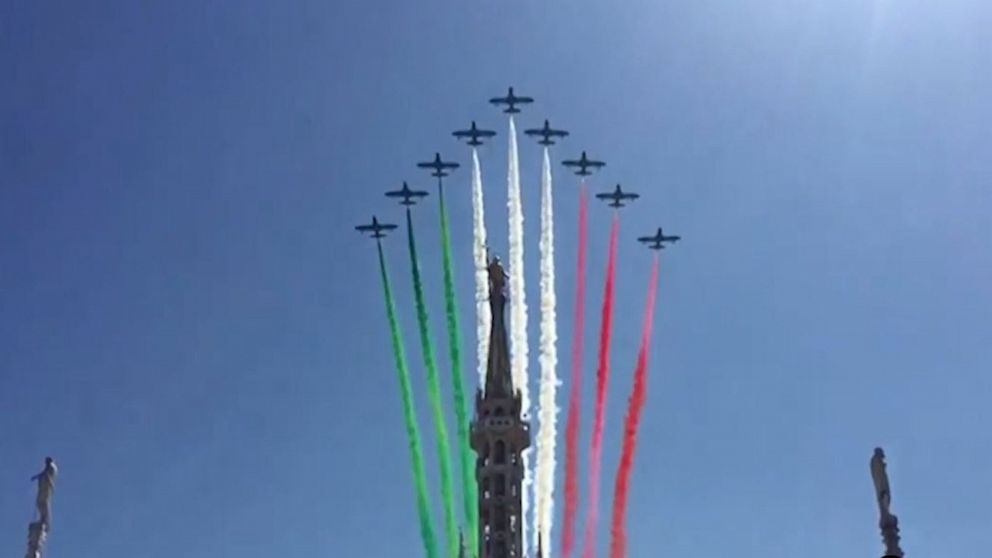 Italy's Air Force aerobatic team flies over Milan and Turin