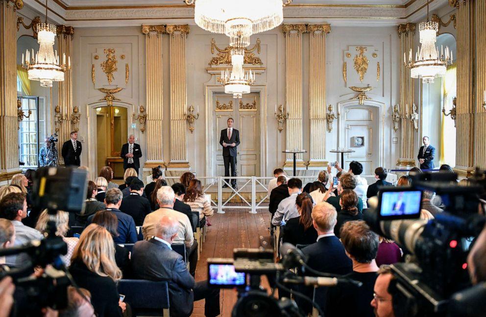 PHOTO: The permanent secretary of the Swedish Academy, Mats Malm, announces the winners of the 2018 and 2019 Nobel Prize in Literature in Stockholm, Sweden, Oct. 10, 2019.