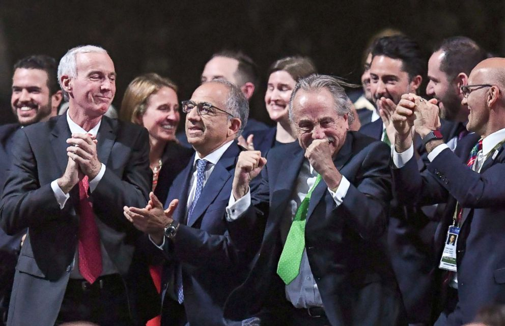 PHOTO: The United 2026 bid (Canada-Mexico-US) officials react following the announcement that the United bid will host the 2026 World Cup during the 68th FIFA Congress at the Expocentre in Moscow, June 13, 2018.