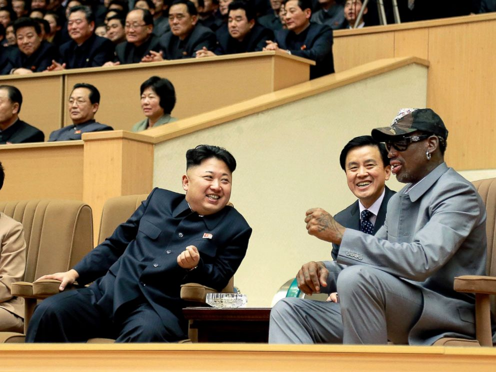 PHOTO: The game of basketball has played an important role in the diplomatic relations with the North Korean leadership. Former Bulls star Dennis Rodman and Kim Jong Un at an exhibition basketball game between U.S. and North Korean players, Jan. 8, 2014.
