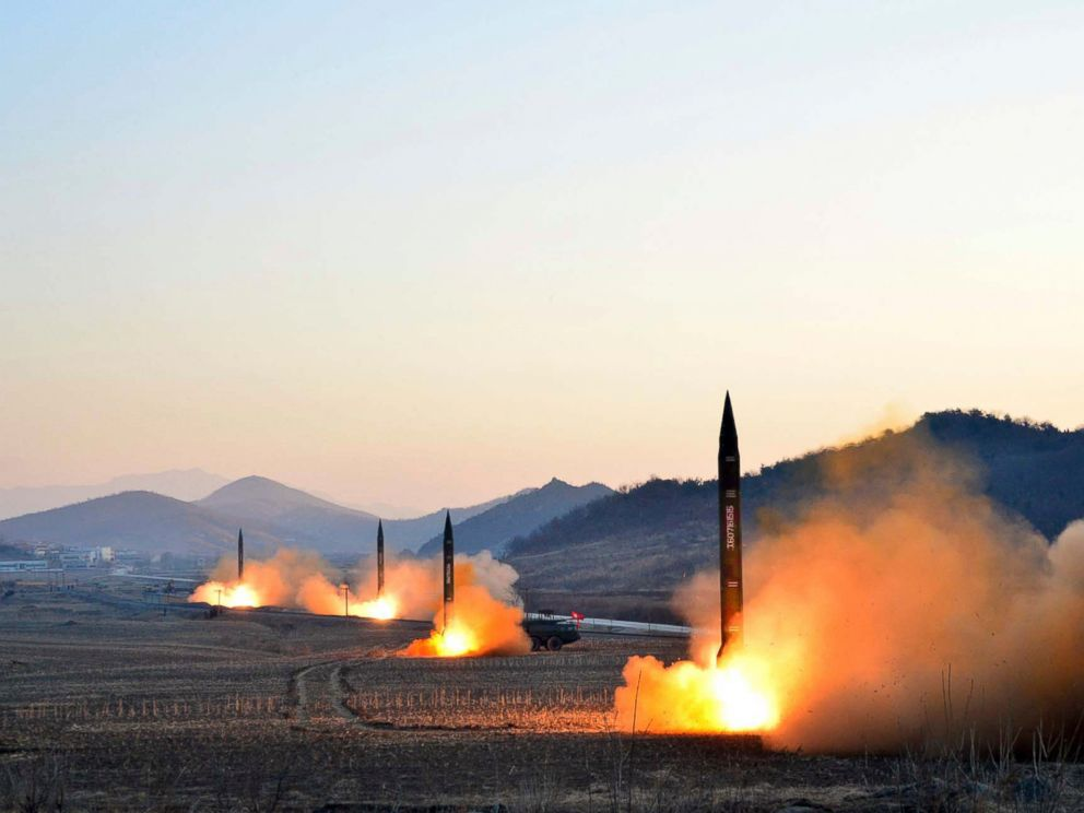 PHOTO: This undated picture released by North Koreas Korean Central News Agency on March 7, 2017 shows the launch of four ballistic missiles by the Korean Peoples Army during a military drill at an undisclosed location in North Korea.