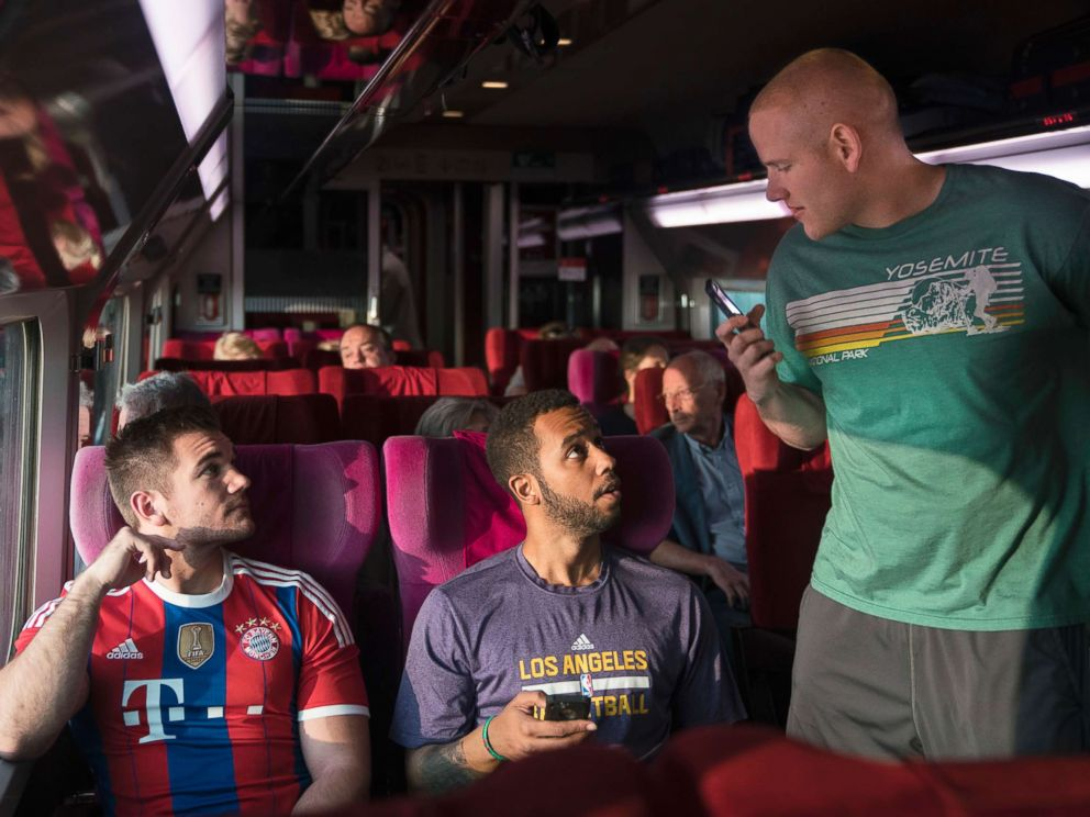 PHOTO: From left, Spencer Stone, Anthony Sadler and Alex Skarlatos in a scene from The 15:17 To Paris.