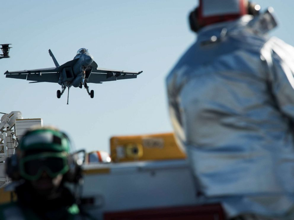 PHOTO: An F/A-18F Super Hornet prepares to land on USS Gerald R. Fords flight deck during flight operations in the Atlantic Ocean, Jan. 19, 2018.