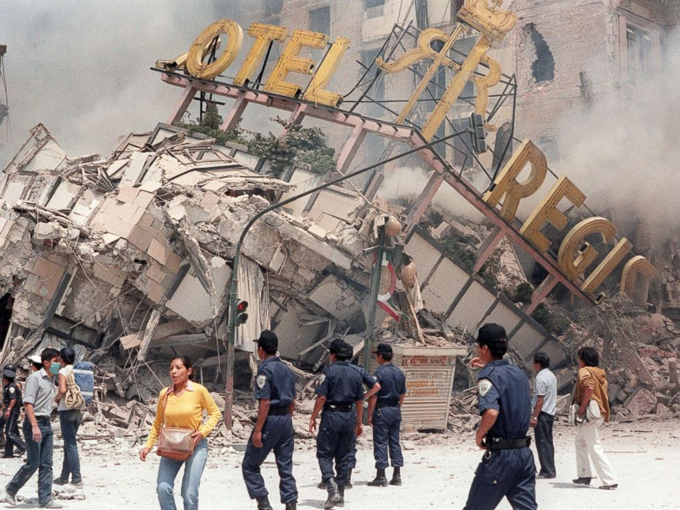 PHOTO: The ruins of Hotel Regis, flattened in the 8.0 magnitude earthquake that struck Mexico City on Sept. 19,1985, killing up to 10,000 people and injuring more than 30,000.