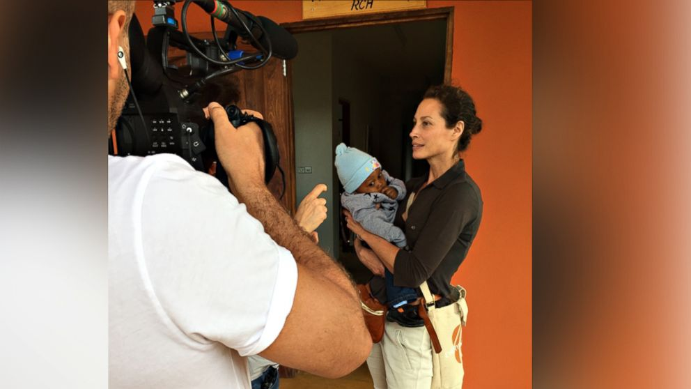 Christy Turlington Burns with baby Jordan who is visiting F.A.M.E. (Foundation for African Medicine and Education) medical hospital for a check-up.