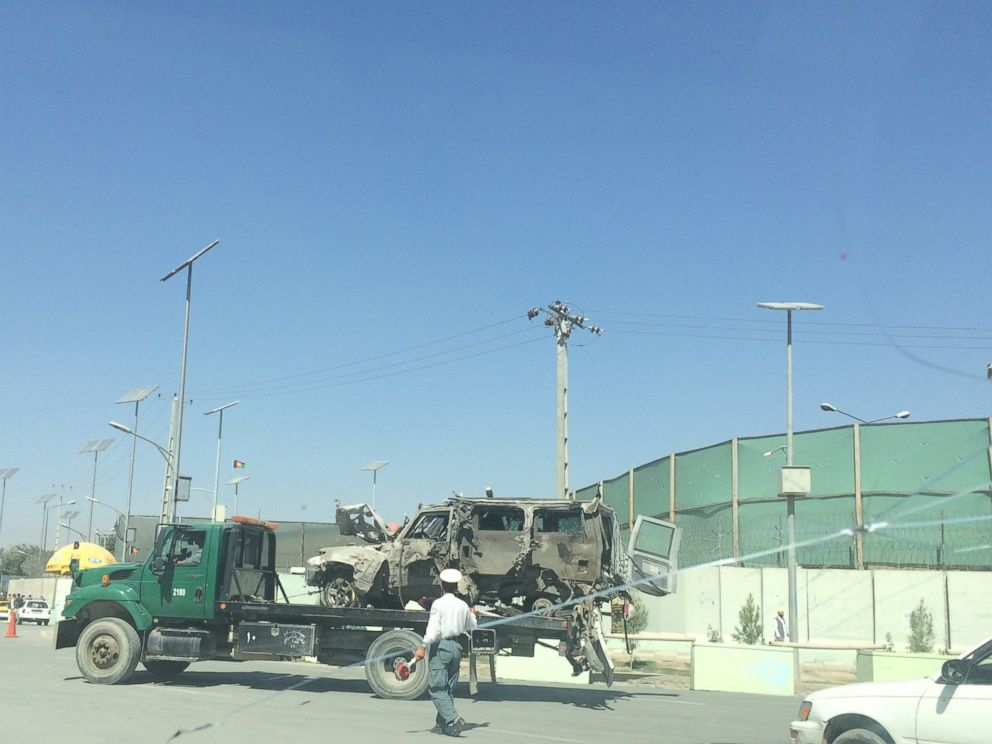 PHOTO: Damage is visible on a vehicle following a suicide attack in Kabul, Afghanistan, Sept. 16, 2014.
