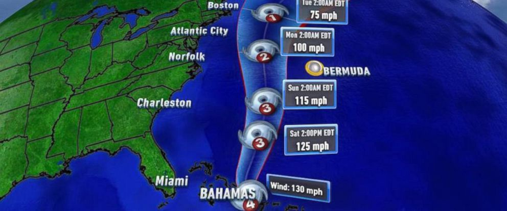 PHOTO:The path of Hurricane Joaquin as seen in the Caribbean on Oct. 2, 2015.