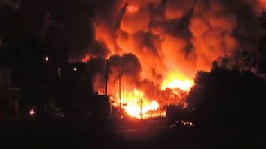 PHOTO: The entire town of Lac-Megantic in Quebec, Canada, was evacuated after a freight train carrying crude oil derailed and caught fire, officials told ABC News. The 80-car-long freight train exploded at approximately 1 a.m. July 6, 2013.
