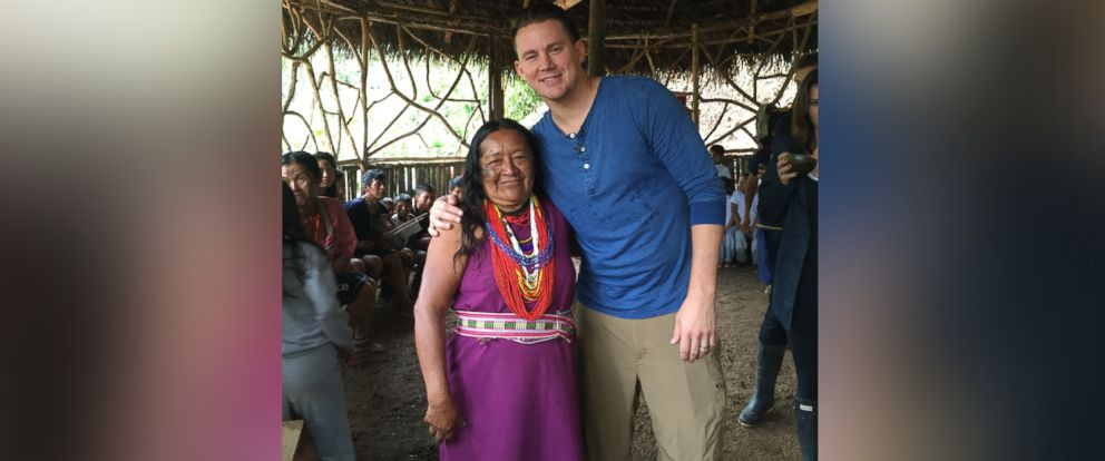 """PHOTO: Channing Tatum is shown here with a Kichwa woman during an interview with ABC News """"Nightline."""""""