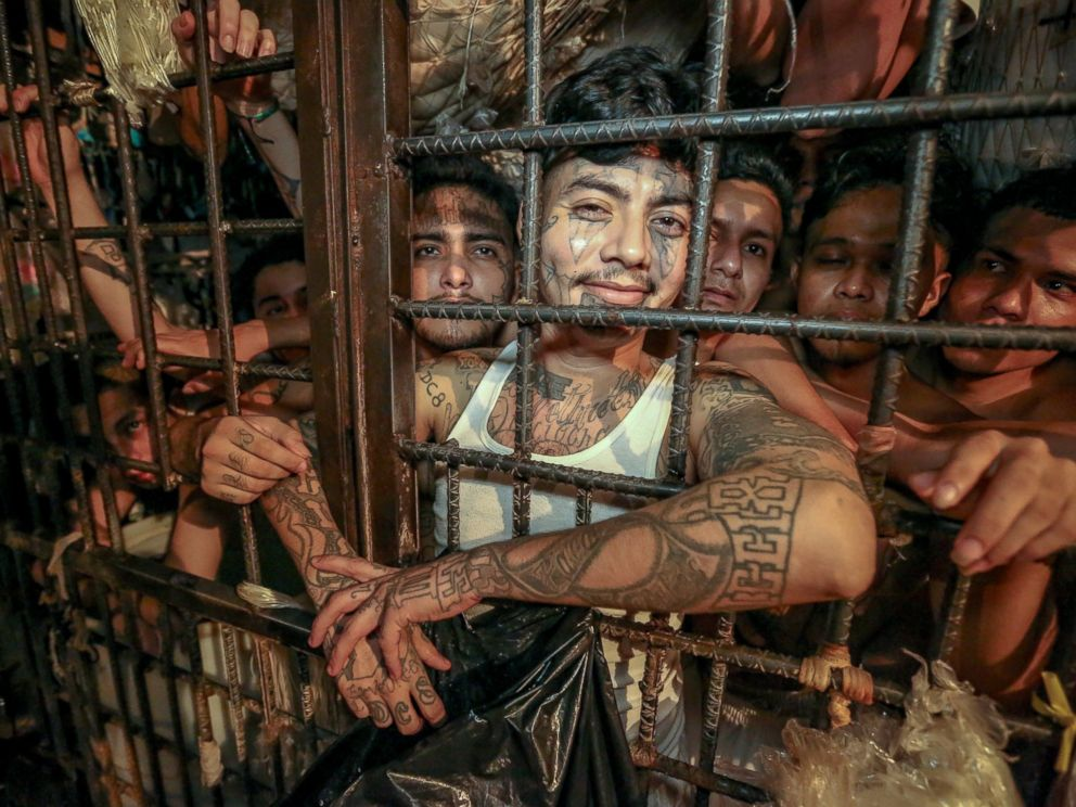 PHOTO: A local prison outside of San Salvador that hold only inmates from the 18th Street Gang. Here, 169 members of the Revolucionario faction of the 18th Street Gang are packed inside 3 cages.