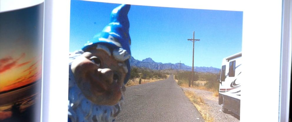 """PHOTO: Bev York, a resident of Highlands, B.C., Canada, said she found her gnome that was """"kidnapped"""" in December 2015, was returned to her driveway, July 26, 2016."""