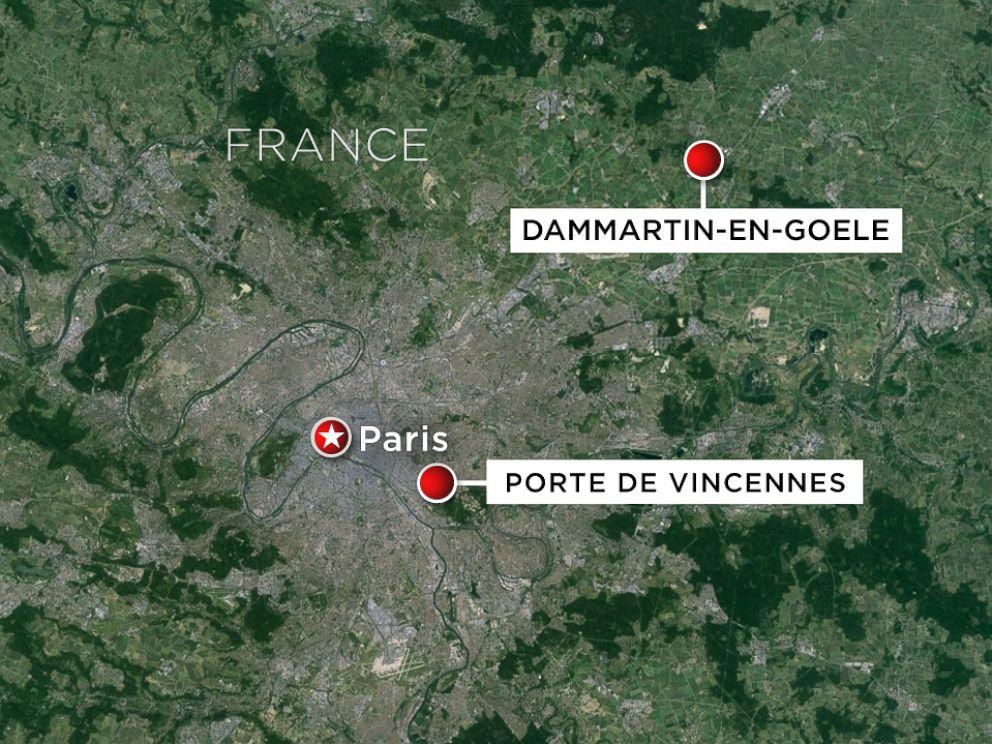 PHOTO: Hostage situations were reported Jan. 9, 2015 in Porte de Vincennes in Paris, France, and in Dammartin-en-Goele, located northeast of the city.