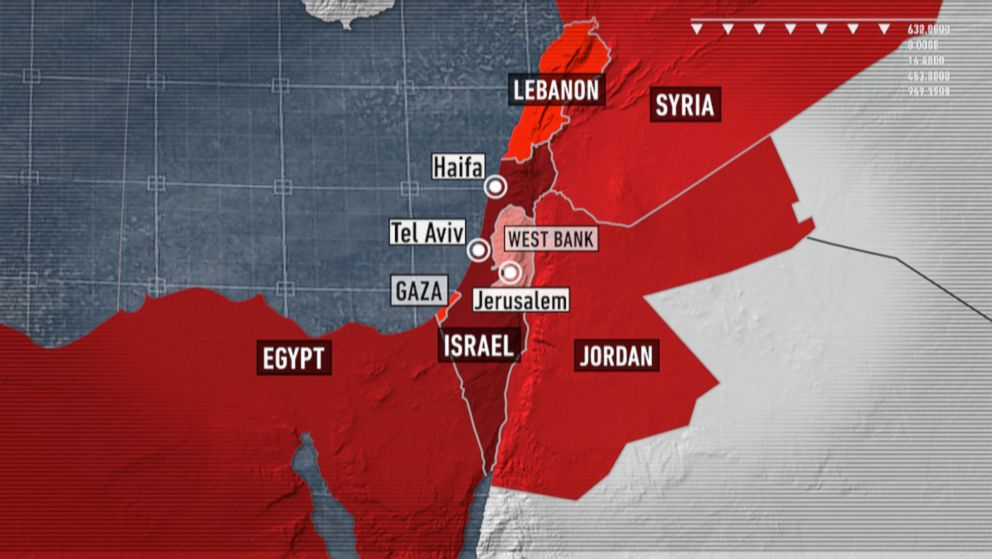 A map of Israel and it's surrounding areas.