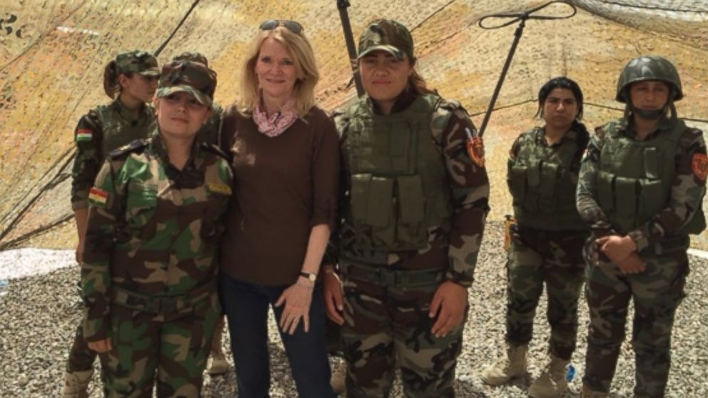 "ABC News' ""This Week"" co-anchor and Chief Global Affairs Correspondent, Martha Raddatz, with female members of the Kurdish peshmerga force in northern Iraq, May 16, 2016."