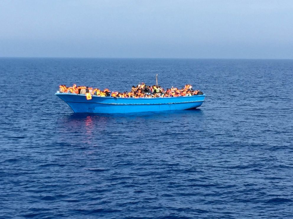 PHOTO: One of the small boats MOAS rescued hundreds of migrants from as they tried to cross the Mediterranean.