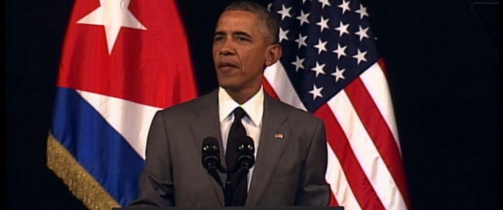 PHOTO:President Obama delivers a speech at the Gran Teatro de la Habana Alicia Alonso in the Old Havana city center, March 22, 2016, in Havana.