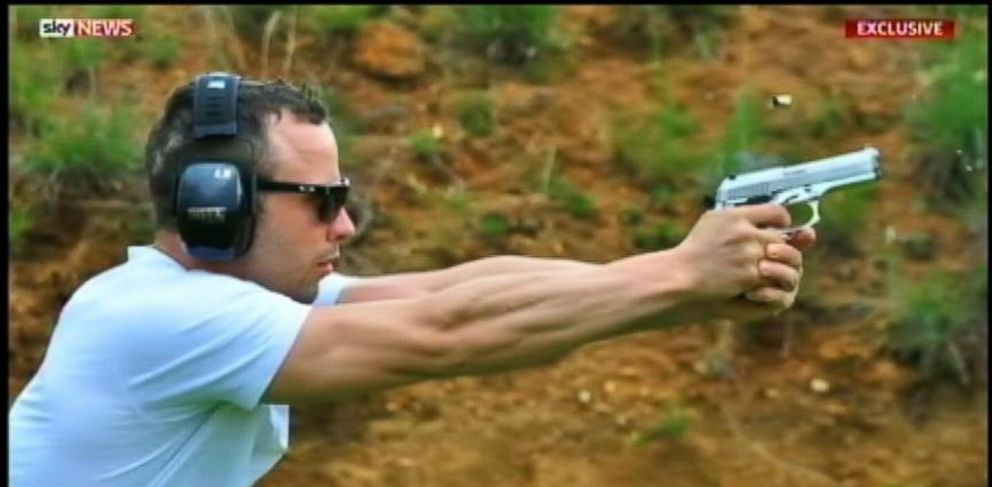 PHOTO: This image from Sky News shows Oscar Pistorius reportedly using the same pistol that killed his model girlfriend Reeva Steenkamp a few months ago.