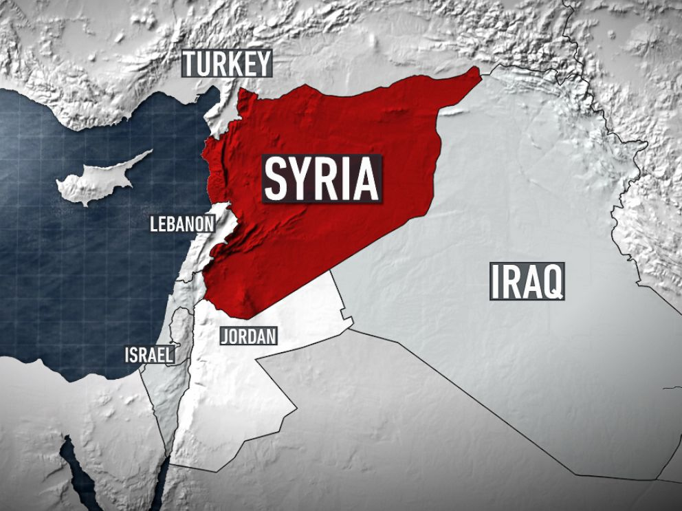 PHOTO: A locator map shows Syria in relation to Israel, Lebanon, Turkey, Iraq and Jordan.