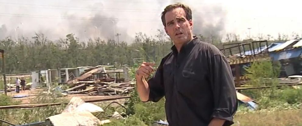 PHOTO: ABC News Bob Woodruff walks through wreckage following the explosion in Tianjin, China.