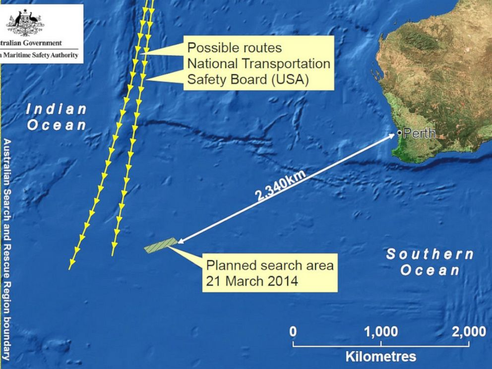 A map from the Australian Maritime Safety Authority shows the area they plan to search on Friday, March 21, 2014, as investigators continue to look for Malaysia Airlines flight 370.