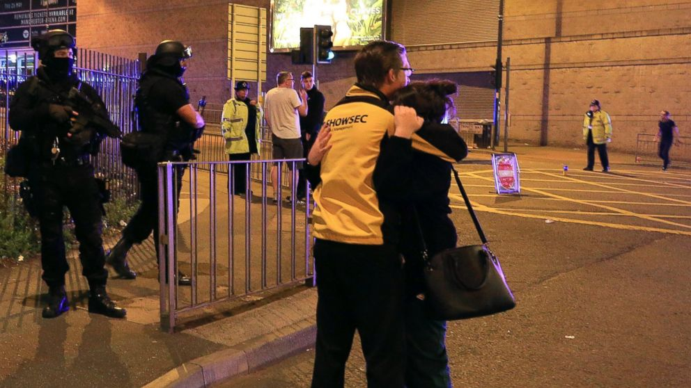 Armed police stand guard at Manchester Arena after reports of an explosion at the venue during an Ariana Grande concert in Manchester, England, May 22, 2017.