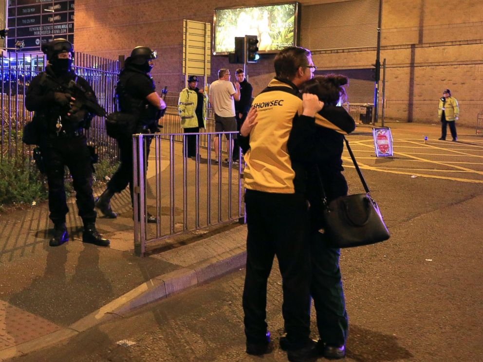 PHOTO: Armed police stand guard at Manchester Arena after reports of an explosion at the venue during an Ariana Grande concert in Manchester, England, May 22, 2017.