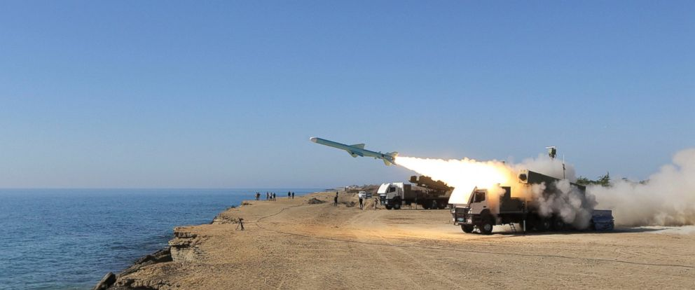 PHOTO: A Ghader missile is launched from the area near the Iranian port of Jask port on the shore of the Gulf of Oman during an Iranian navy drill, Jan. 1, 2013.
