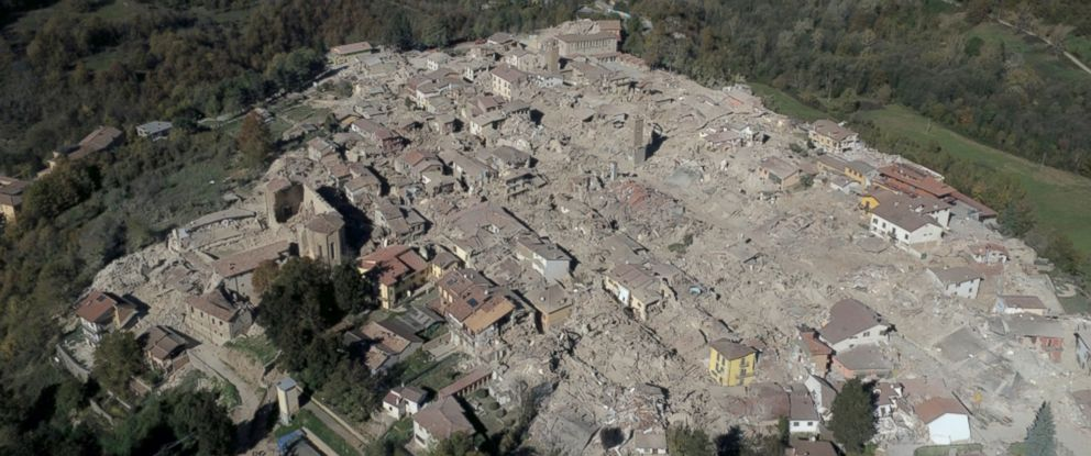 PHOTO: An aerial view of the destroyed hilltop town of Amatrice as an earthquake with a preliminary magnitude of 6.6 struck central Italy, Oct. 30, 2016.