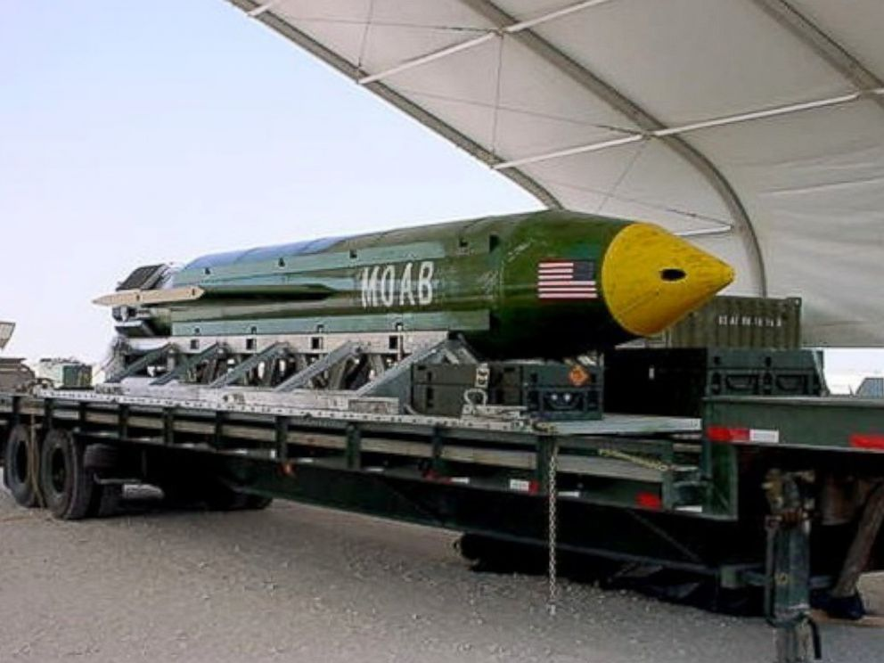 PHOTO: A Pentagon spokesman said it was the first-ever combat use of the bomb, known as the GBU-43, which he said contains 11 tons of explosives.