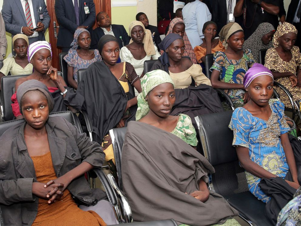 PHOTO: Chibok school girls recently freed from Islamic extremist captivity are seen during a meeting with Nigerias Vice President Yemi Osinbajo, in Abuja, Nigeria, Oct. 13, 2016.