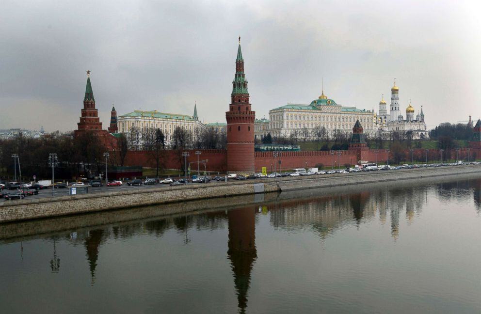 The Kremlin is seen behind the Moskva River in Moscow, April 7, 2017.