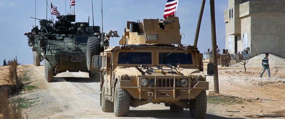 PHOTO: This March 7, 2017 grab from video provided by Arab 24 network, shows U.S. forces patroling on the outskirts of the Syrian town, Manbij, a flashpoint between Turkish troops and allied Syrian fighters and U.S.-backed Kurdish fighters.
