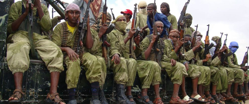 PHOTO: Al-Shabab fighters sit on a truck as they patrol in Mogadishu, Somalia, Oct. 30, 2009.