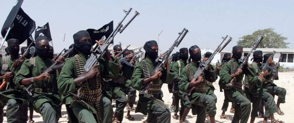 PHOTO: Hundreds of newly trained al-Shabab fighters perform military exercises in the Lafofe area some 18 km south of Mogadishu, in Somalia, Feb. 17, 2011.