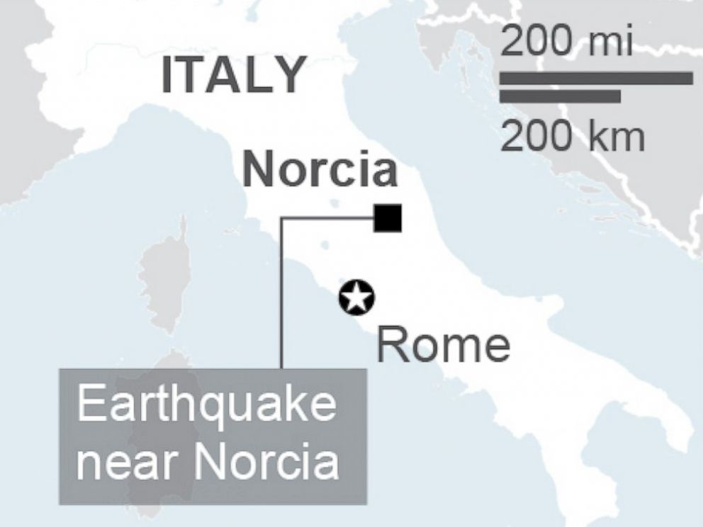 PHOTO: An earthquake hit Central Italy, Oct. 30, 2016.