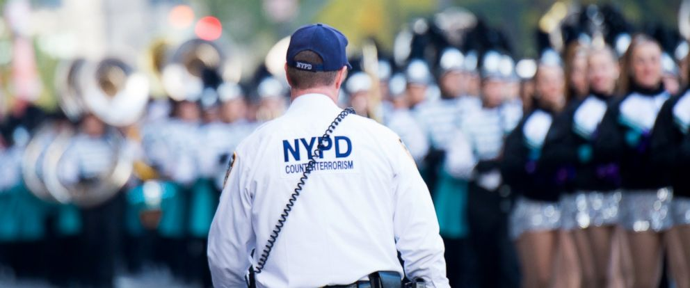 PHOTO: An NYPD Counter-terrorism officer patrols the parade route at the Macys Thanksgiving Day Parade, Nov. 26, 2015, in New York.