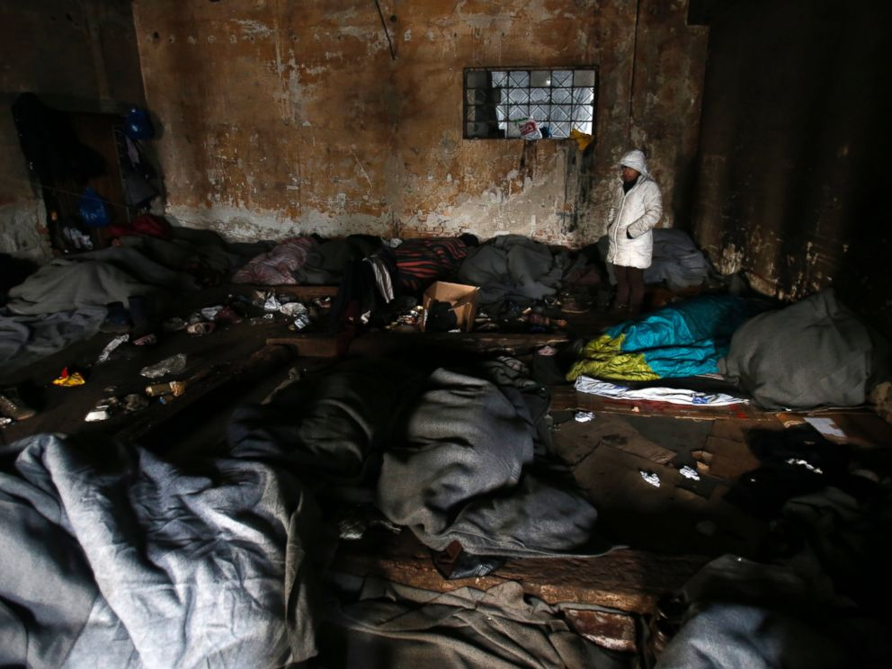 PHOTO: Migrants in sleeping bags rest in an abandoned warehouse in Belgrade, Serbia, Jan. 10, 2017.
