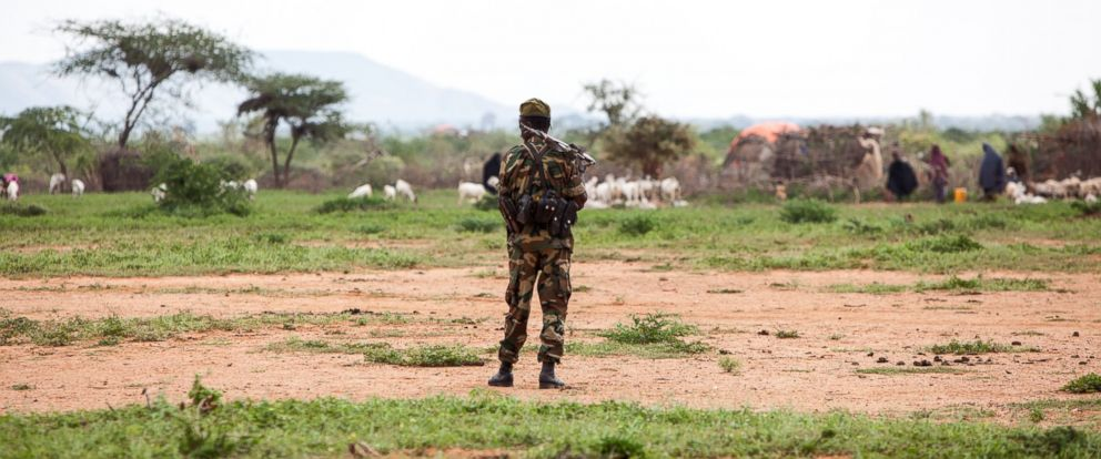 PHOTO: A member of the Somali Army scopes the horizon searching for possible threats to the nomads living in the village of Sadumay.