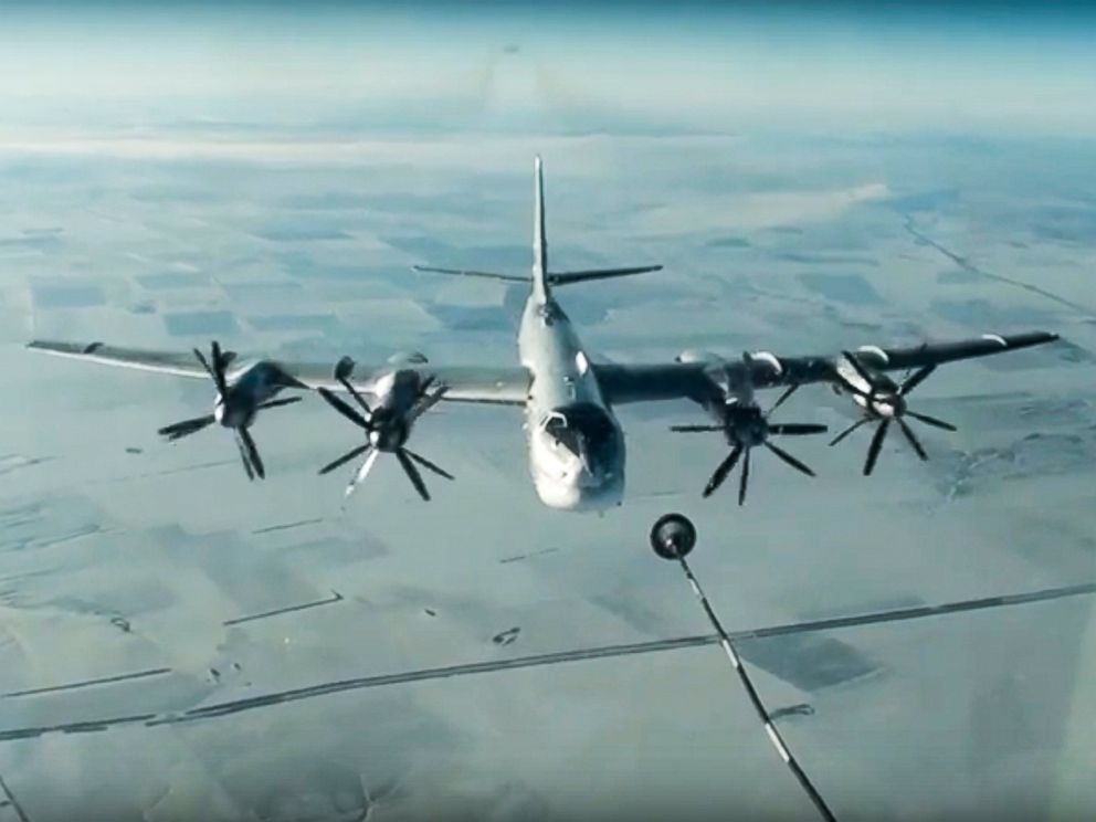 PHOTO: A Russian Tu-95 strategic bomber on a cruise missile attack mission on Islamic State and al-Qaida targets in Syria, November 2016.