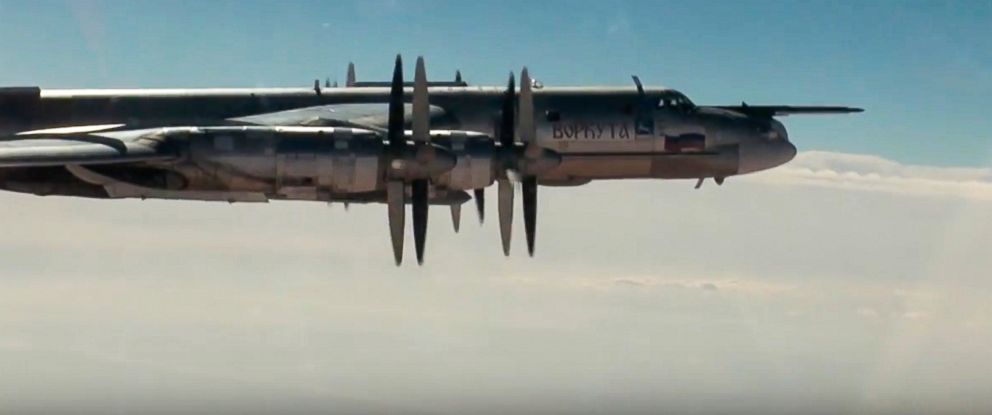 PHOTO:A Russian Tu-95 strategic bomber on a cruise missile attack mission on Islamic State and al-Qaida targets in Syria, November 2016.