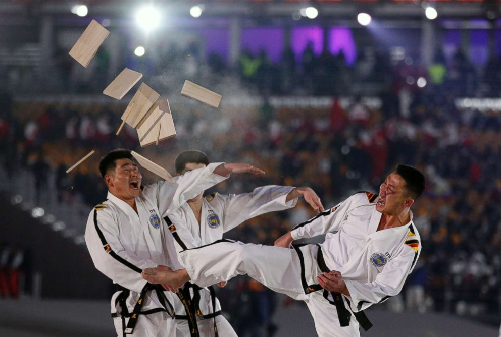 North Koreas taekwondo team performs leading up to opening ceremony of the 2018 Winter Olympics in Pyeongchang, South Korea, on Feb. 9.