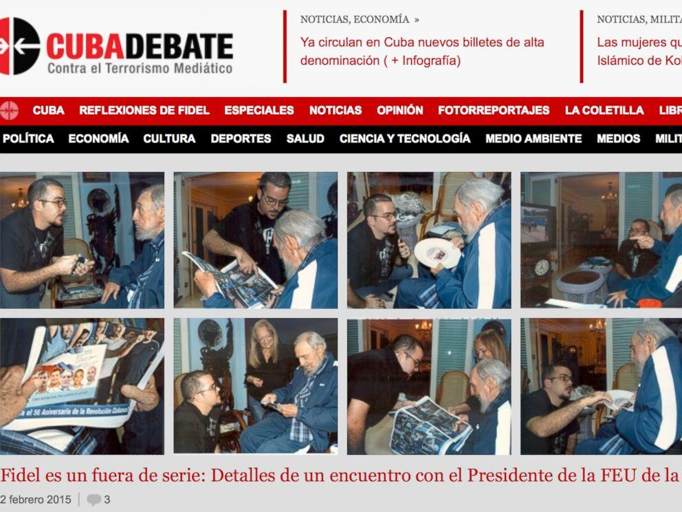 PHOTO: A screenshot of Cubas website Cubadebate shows ten photos of Fidel Castro on their opening page in Havana, Cuba, Feb. 3, 2015.
