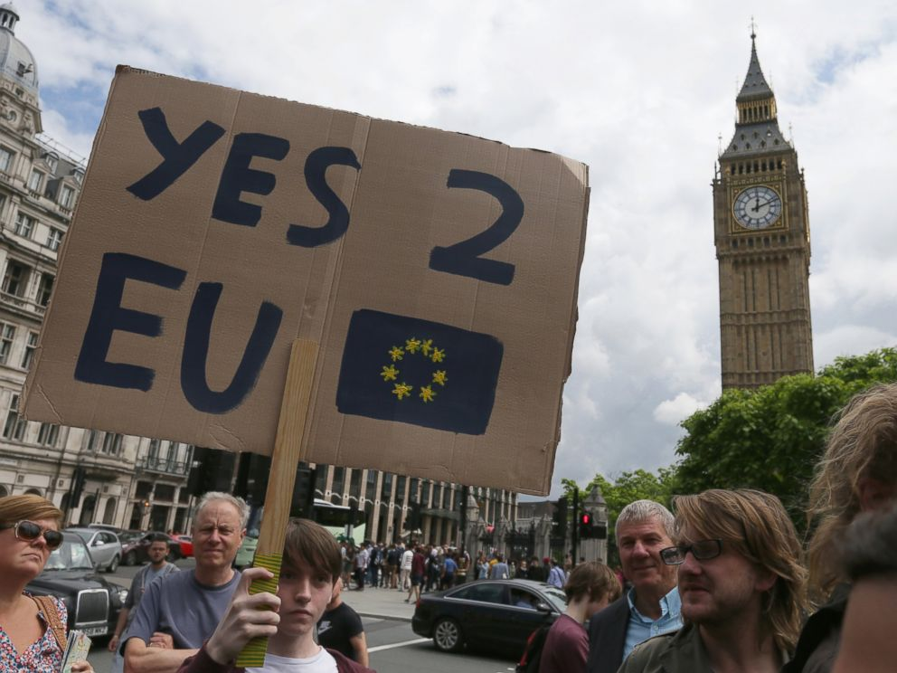 PHOTO: Demonstrators opposing Britains exit from the European Union in Parliament Square following EU referendum result hold a protest in London, June 25, 2016.