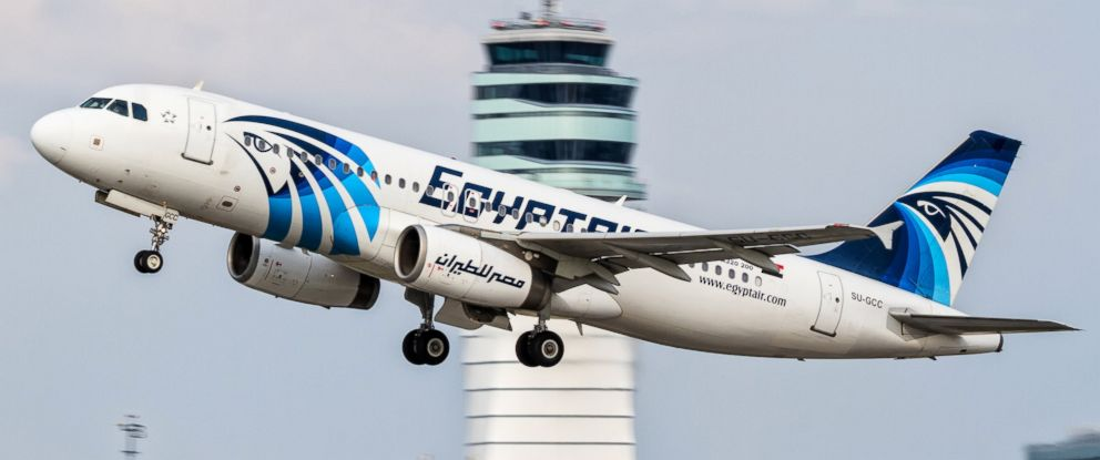 PHOTO: This August 21, 2015 photo shows an EgyptAir Airbus A320 with registration SU-GCC, taking off from Austria. Officials said an EgyptAir plane with the registration SU-GCC, traveling from Paris to Cairo crashed off the Greek island of Karpathos.