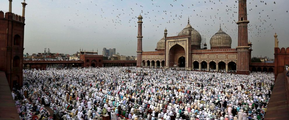 PHOTO: Indian Muslims take part in Eid al-Fitr prayers at Jama Masjid in New Delhi, Aug. 20, 2012. Muslims around the world are celebrating Eid al-Fitr, marking the end of Ramadan, the Muslim calendars ninth and holiest month.
