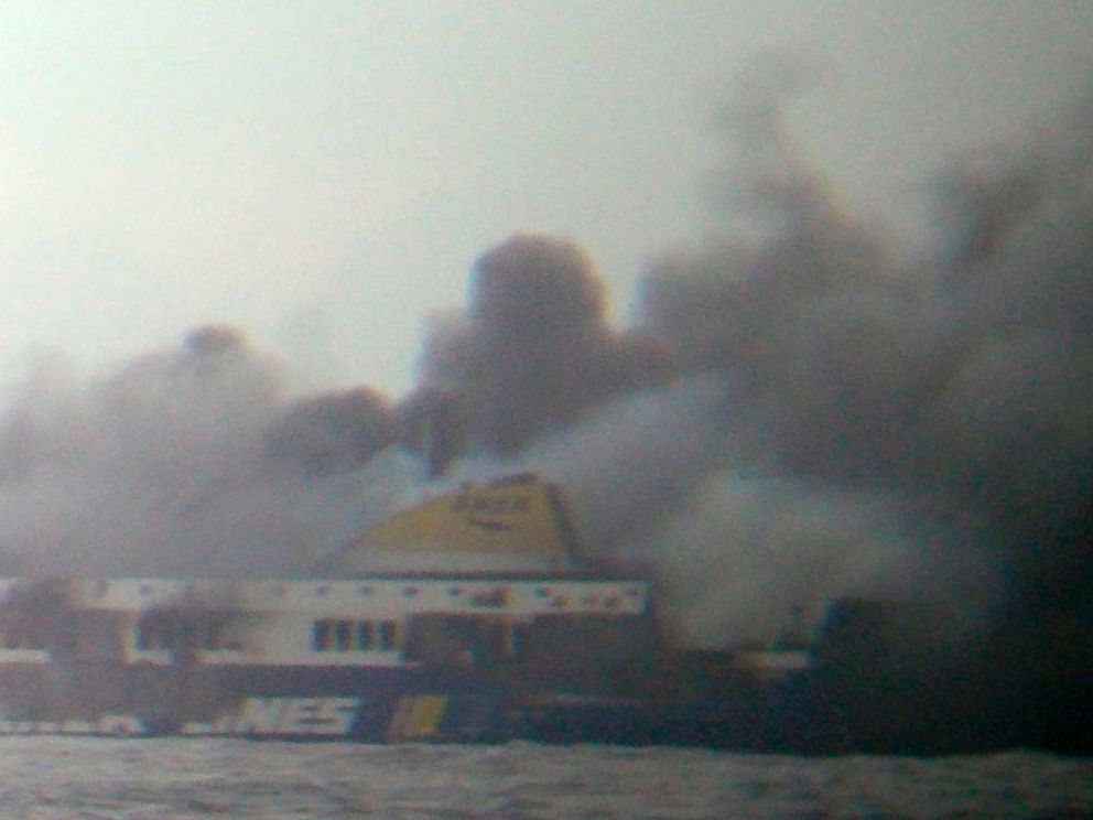 PHOTO: In this photo taken from a nearby ship, smoke rises from the Italian-flagged Norman Atlantic ferry after it caught fire in the Adriatic Sea, Dec. 28, 2014.