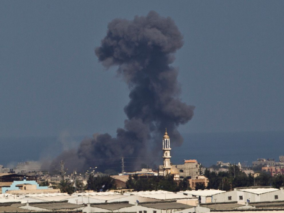 PHOTO: Smoke rises after an Israeli missile strike in Gaza, seen from the Israel Gaza Border, Wednesday, July 16, 2014.