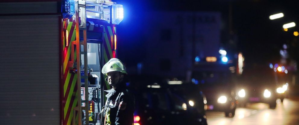 PHOTO: A firefighter stands at a road block in Wuerzburg, Germany, July 18, 2016, where a man attacked people on a train.