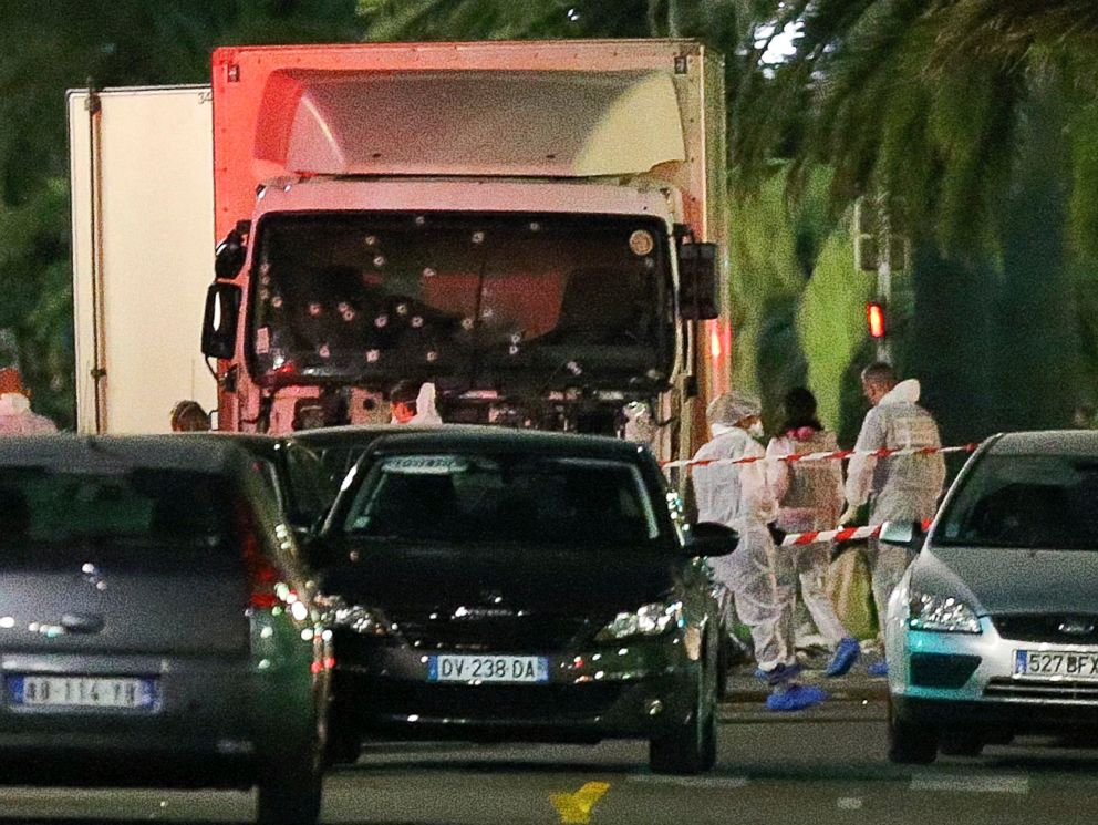 PHOTO: The truck which slammed into revelers July 14, is seen near the site of an attack in the French resort city of Nice, southern France, July 15, 2016.